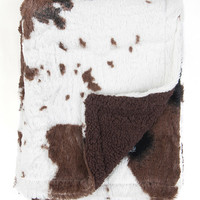 30'' x 36'' Brown & White Cow Print Stroller Blanket