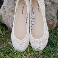 Lucy Lace Flats Ivory