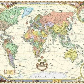 Antique Style World Wall Map (Wall Map, Laminated) (Illustrated World Map) (Map)