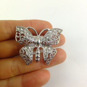Butterfly Crystal Rhinestone Pin Brooch Jewelry Gift for Her Grace Elegance Soul Hat Pin Scarf Jewelry Dress Jewelry Accent Special Occasion