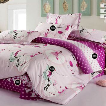 New Arrival 100% Cotton Fashion City Fairy Purple Bedding Set Girl Kids 4pcs Bedding Set Printed Bedsheet Pillowcase Duvet Cover