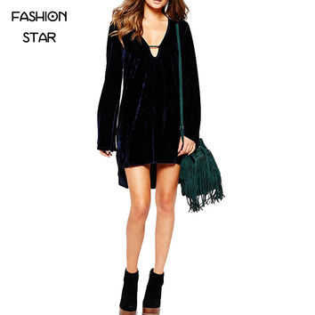 Sale Sale Arrivals 2016 Ladies Long Sleeve Velvet Purple Casual Streetwear Women Asymmetrical Party Dresses