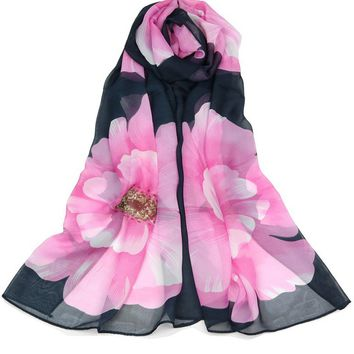 Casual Floral Printed Chiffon Long Scarf
