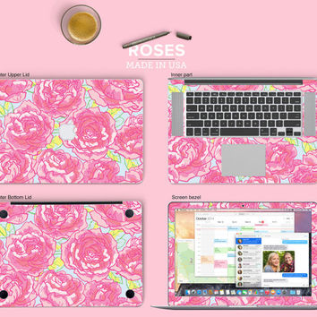 Roses Vinyl Skin Decal for Macbook Air & Mac Pro - Trendy One of a Kind Gift for Girls and Woman