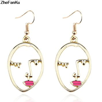 2018 Trendy Hollow Abstract Face Pendant Women Art Stylish Earrings  Dropshipping