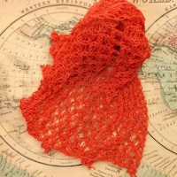Lace Orange Scarf, Bamboo and Wool, Crochet Freeshipping #Accessories #Scarf #Handmade #Crochet #Giftforher