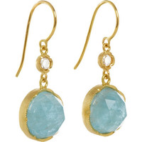 Irene Neuwirth Diamond & Fine Aquamarine Round Drop Earrings
