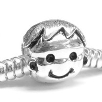 Queenberry Sterling Silver Boy Family European Style Bead Charm