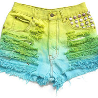 High waist dyed shorts XS by deathdiscolovesyou on Etsy