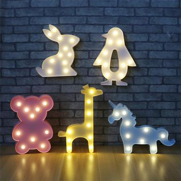 3D LED Nightlight Party Decoration Rabbit /bear/love/flamingo/crown/anchor/unicorn Nightlight Marquee Letter Light For Children