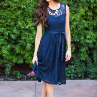 Beverly Navy Midi Lace Dress
