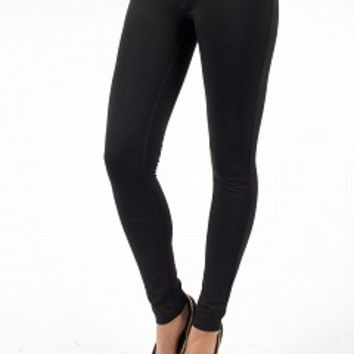 J1701-2-4 Solid Color Skinny Jeans Apparel Pants BLACK Bare Feet Shoes