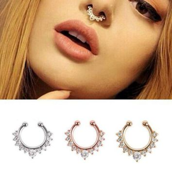 ac DCCKO2Q 18 style Titanium nose Rings Crystal Fake Nose Ring Septum Piercing Hanger Clip On Body Jewelry Nose Hoop rings nose earrings