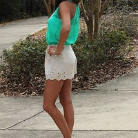 Pleat To Meet You Shorts, Cream