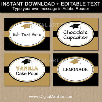 Graduation Buffet Cards, Food Labels, Tent Cards - Printable Graduation Candy Buffet Labels Instant Download - College Graduation Ideas