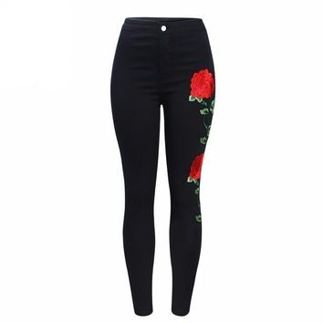 Embroidered Floral High Waist Slim Fit Jeans