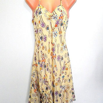 pale yellow w/ floral bubble print drop or low waist hipster dress