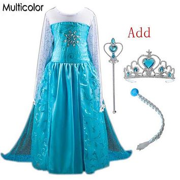 High Quality Elsa Anna Girls Princess Children Dress Party Kids Fantasia Vestidos Infants Baby Dress Kids Custom Longer Dresses