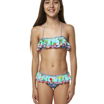 JETS KIDS GIRLS SENTIMENT DOUBLE RUFFLE BANDEAU BIKINI - FORGET ME NOT