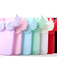 Cute Angel Wing Soft Silicone Stand Case Cover for iPhone 5 5G +Screen Protector