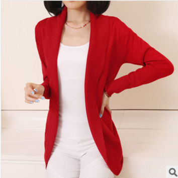 Women Casual Knitted Sweater Long Sleeve Cardigan Coat