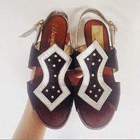 Leather sandals woman made in Italy vintage 80s vero cuioio inside outside size 40 EUR