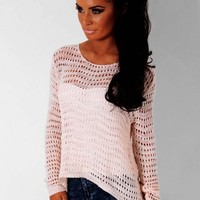 Strawberry Swirl Pink Knitted Slouch Jumper | Pink Boutique