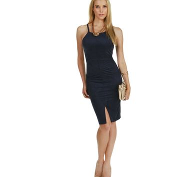 Navy Moonshine Suede Midi Dress