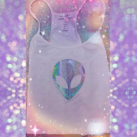White Customizable Holographic Alien Crop Top