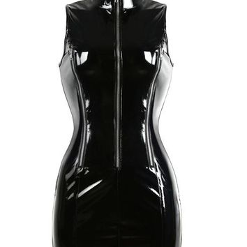 Black PVC Leather Bodycon Dress High Collar Zipper Front Latex Dress Gothic Punk Sleeveless Women Sexy Bandage Mini Dress