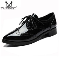 Tangnest New Patent Leather Oxfords Women Autumn Fashion Pointed Toe Platform Shoes Cl