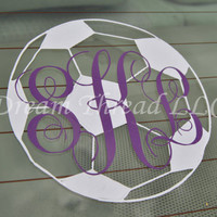Monogram Soccer Ball Decal (made to order)