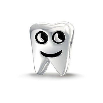 Smiling Tooth 925 Sterling Silver Bead Charm