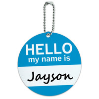Jayson Hello My Name Is Round ID Card Luggage Tag