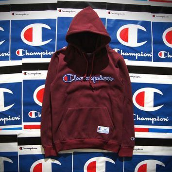 ESBHD2 Champion Patchwork Embroidered Hooded Hooded Cotton Velvet Hooded Sweater Jacket for boys and girls Wine red