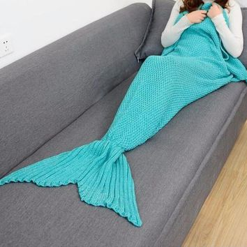 MERMAID TAIL SOLID CROCHET BLANKET SIZES BABY CHILDREN ADULT
