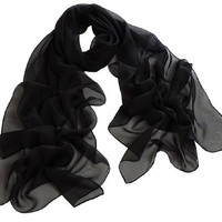 JOVANA 1PC Fashion Long Soft Wrap Lady Shawl Chiffon Scarf Beach Scarves for Women (BLACK)