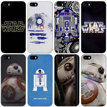 Star wars R2D2 Black Plastic Case Cover Shell for iPhone Apple 4 4s 5 5s SE 5c 6 6s 7 Plus