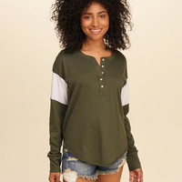 Girls Must-Have Oversized Henley | Girls Tops | HollisterCo.com