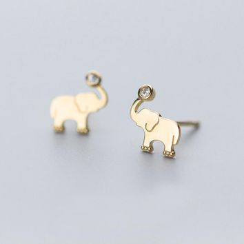 MloveAcc Authentic 100% 925 Sterling Silver Animal Earrings Little Elephant Clear CZ Earrings for Women Sterling Silver Jewelry