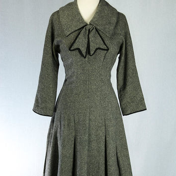 Vintage 1940's Day Dress Big Bow Wool Adorable Career Girl Mam'selle by Betty Carol Spring Sale!