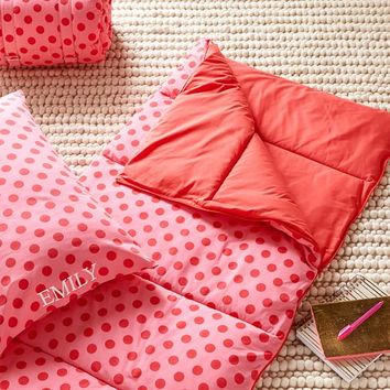 Gumdrop Dot Sleeping Bag + Pillowcase, Pink