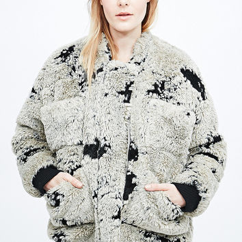 Carin Wester Reva Furry Bomber Jacket - Urban Outfitters