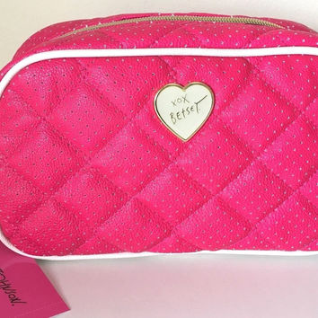 Betsey Johnson Quilted Large Fuchsia Cosmetic Bag