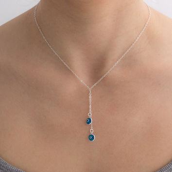Sterling silver Evil Eye Lariat Necklace