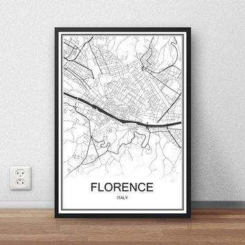 FLORENCE Italy City Street Map Print Poster Abstract Coated Paper Bar Cafe Pub Living Room Home Decoration Wall Sticker 42x30cm