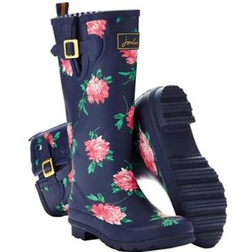 French Navy Peony Wellyprint Women's Printed Rain Boot Wellies | Joules US