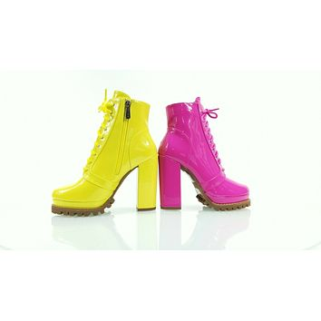 "CR Crush Lace Up Ankle Boots 4.5""  Chunky Heels 6 -11 Yellow Patent"