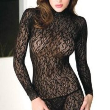Tease Women's Sexy Lace Turtle Neck Long Sleeved Mini Dress (Black, One-Size)