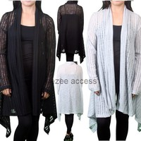 SeXy Women Plus Size Sheer Lace Hi Lo Long Cardigan Sweater Coat Duster Cover up